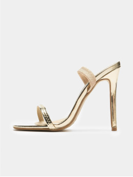 Missguided Sandals Elasticated Strap Square Toe Barley gold colored