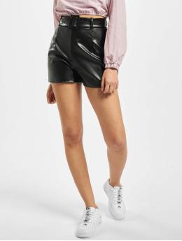 Missguided Short Short Faux Leather Belt Detail  black