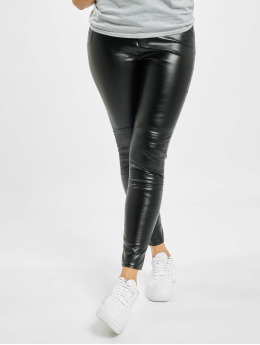 Missguided Skinny Jeans Faux Leather Biker Detail black