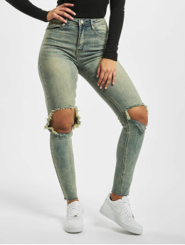 Missguided Skinny Jeans Sinner High Knee blau