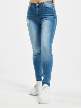 Missguided Skinny Jeans Petite Sinner Clean Distress niebieski