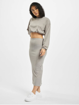 Missguided Skirt Coord Rib Crop gray