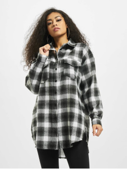 Missguided Skjorter Brushed Oversized Basic Check  grå