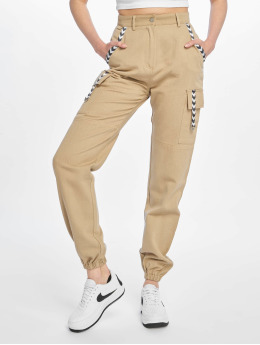 Missguided Spodnie Chino/Cargo Sand Sports Tape bezowy