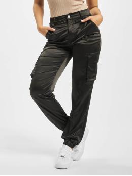 Missguided Spodnie Chino/Cargo Satin Cargo  czarny