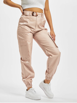 Missguided Spodnie Chino/Cargo Tortoise Shell Belt pink