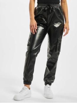 Missguided Spodnie do joggingu Contrast Stitch PU Utility czarny