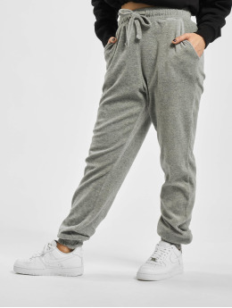 Missguided Spodnie do joggingu Ribbed Velour Lounge  szary