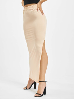 Missguided Sukňe Side Split Maxi béžová