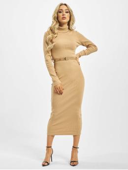 Missguided Sukienki Roll Neck bezowy