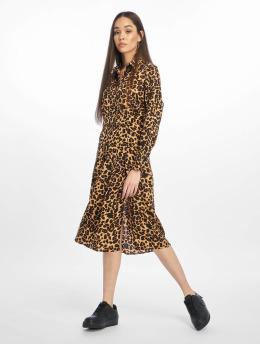 Missguided Sukienki Midi Leopard  brazowy