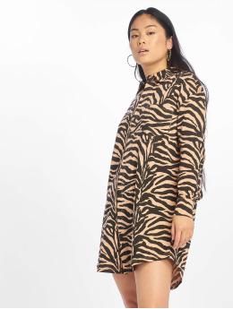 Missguided Sukienki Oversized Ls Zebra Shirt  brazowy