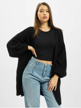 Missguided Swetry rozpinane Ribbed Balloon Sleeve Oversized czarny