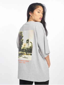 Missguided t-shirt Bad Influence Graphic grijs