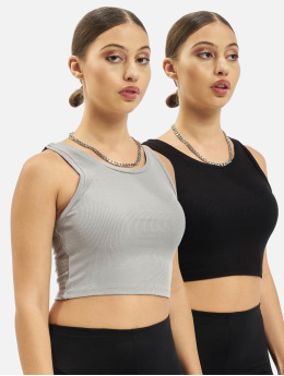 Missguided Top 2 Pack Rib Sleeveleshort Sleeve Crop black