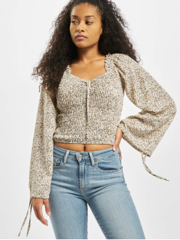 Missguided Top Shirred Balloon Sleeve Milkmaid Ditsy Floral bunt