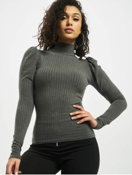 Missguided Top Rib High Neck Puff Sleeve  grey