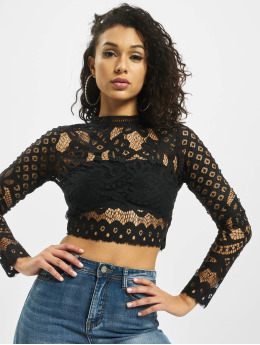 Missguided Topper High Neck Patterend Lace svart