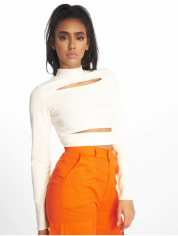 Missguided Topssans manche Ribbed High Neck Cut Out blanc