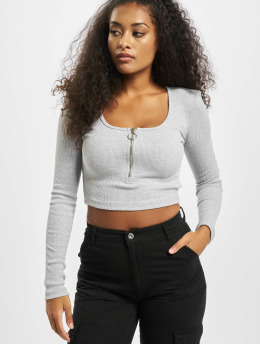 Missguided Tops Scoop Neck Zip Front Rib szary