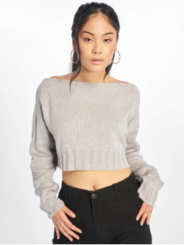 Missguided Trøjer Brushed Off The Shoulder Knitted Jumper grå