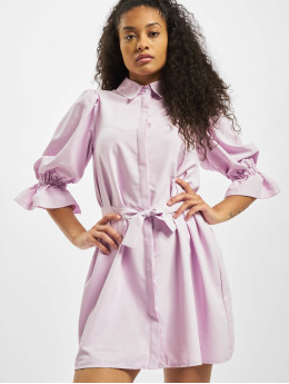 Missguided Vestido Puff Sleeve Belted Mini Shirt púrpura