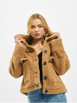 Missguided Winter Jacket Crop Borg Trucker brown