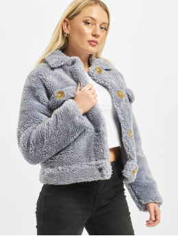 Missguided winterjas Crop Borg Trucker With Contrast Buttons  blauw