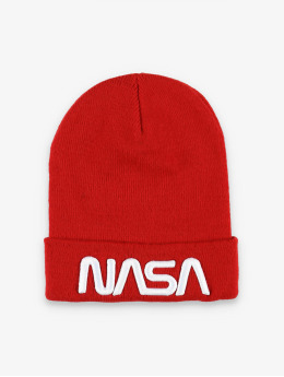 Mister Tee Beanie NASA Worm Logo rot