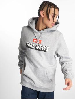 Mister Tee Felpa con cappuccio Fake News grigio