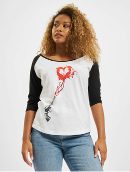 Mister Tee T-Shirt Pistole Heart Raglan blanc