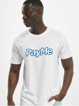 Mister Tee T-Shirt Pay Me Outline blanc
