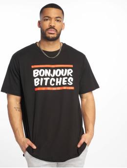 Mister Tee T-shirt Bonjour svart