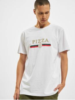 Mister Tee T-skjorter Pizza Slice hvit