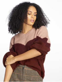 NA-KD Пуловер Blocked V-Neck Knitted красный