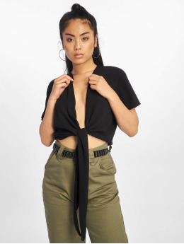 NA-KD Blouse Tie Front Cropped zwart
