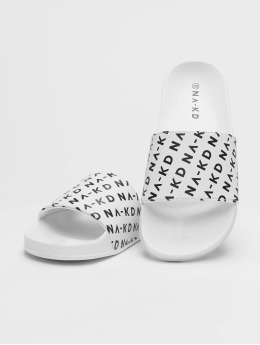 NA-KD Claquettes & Sandales Logo Pool blanc