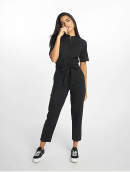 NA-KD jumpsuit Short Sleeve Button Up zwart