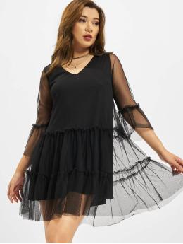 NA-KD jurk Ruffle Mesh zwart