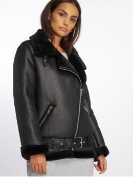 NA-KD Leather Jacket Belted Aviator  black