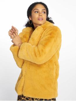 NA-KD Manteau hiver Fluffy Fur jaune