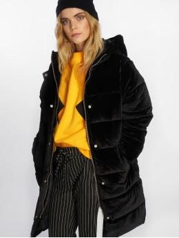 NA-KD Puffer Jacket Velvet Long black