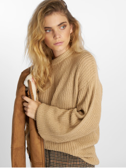NA-KD Frauen Pullover Dropped Shoulder Knitted in beige
