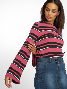 NA-KD Frauen Pullover Wide Sleeve Striped in pink