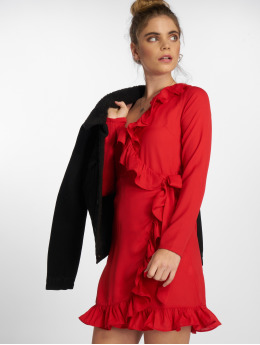 NA-KD Robe Long Sleeve Wrap Frill rouge