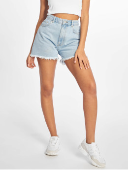 NA-KD Short Raw Hem High Waist Denim blue