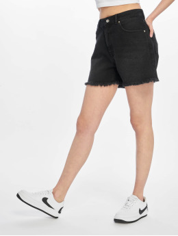 NA-KD Shorts Raw Hem High Waist Denim schwarz