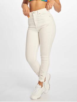 NA-KD Skinny Jeans Chewed Hem bílý