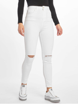 NA-KD Skinny Jeans High Rise Knee Rip bialy