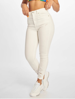 NA-KD Skinny jeans Chewed Hem vit